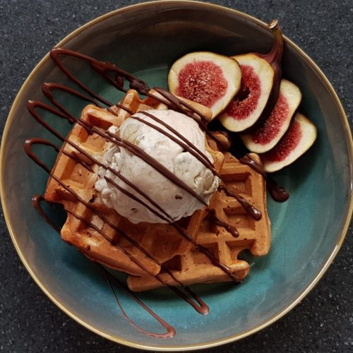Baobab Waffles with Banana Ice Cream